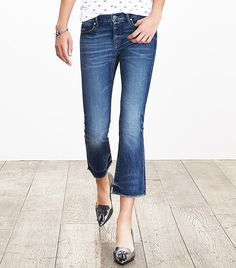 Great shoes with. 7 Rules for Wearing Cropped Flared Jeans via @WhoWhatWear