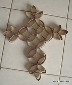 Full of Great Ideas: Paper Roll Cross (two actually) on my $0 budget