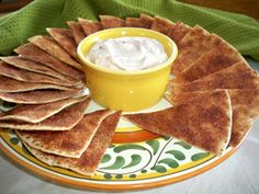 A light cinnamon-flavored toasted tortilla with a matching cinnamon dip. This is a nice light dessert that is perfect at the end of any meal with a Mexican flair. It also makes a great anytime treat.