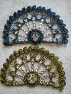 This Pin was discovered by HUZ Hairpin Lace Crochet, Crochet Motifs, Crochet Doilies, Crochet Stitches, Knit Crochet, Crochet Patterns, Saree Tassels, Tatting Lace, Jewelry Model