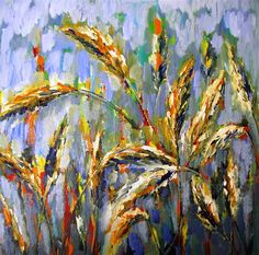 "Original art for sale at UGallery.com | Wheat Field by Ina Shtukar | $1,025 | acrylic painting | 30"" h x 30"" w 