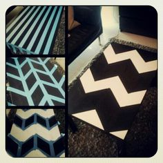 Our revamped DIY chevron coffee table! :)  Lack table from IKEA