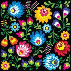 Floral Polish Folk Art Pattern On Black - Wzory Lowickie, Wycinanki Royalty Free Cliparts, Vectors, And Stock Illustration. Image 43273424.