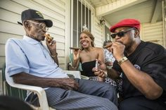 "Richard Overton celebrated with friends and neighbors during his ""Mighty Fine at 109"" party."