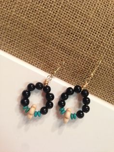 Items similar to handmade beaded earrings, beaded black earrings, dangle earrings, beaded jewelry, black and turquoise earrings on Etsy Beaded Earrings, Drop Earrings, Trending Outfits, Unique Jewelry, Handmade Gifts, Etsy, Vintage, Black, Fashion