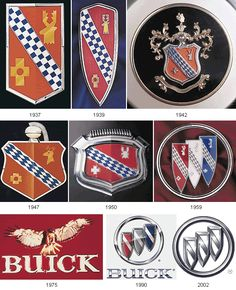 Evolution of Car Logos - car emblem hsitory Car Badges, Car Logos, Auto Logos, Logo Autos, Buick Wildcat, Buick Park Avenue, Buick Cars, Buick Gmc, Most Popular Cars