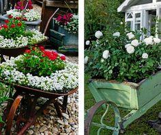 Carrinhos de mão podem ser reaproveitados na decoração de seu jardim. Se inspire nesta ideia!