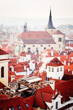 An poster sized print, approx mm) (other products available) - Rooftop resturant offers fantastic views over red roofs of Pragues Old Town heart of city of Prague. - Image supplied by Fine Art Storehouse - poster sized print mm) made in the UK Places Around The World, Oh The Places You'll Go, Travel Around The World, Places To Travel, Places To Visit, Around The Worlds, Travel Destinations, Prague Old Town, Magic Places