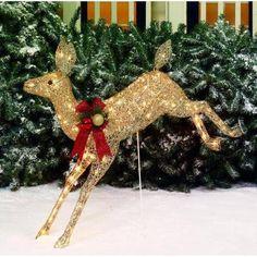 "Holiday Time 42"" Glittering Champagne Running Doe Light Sculpture - Walmart.com"