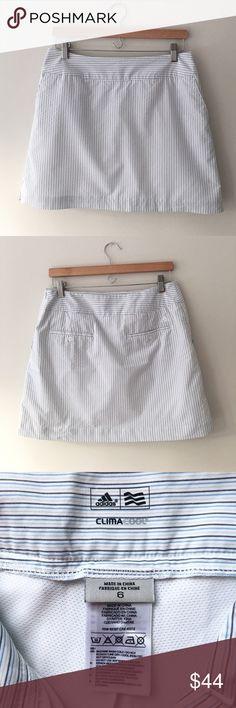 Adidas ClimaCool Pinstripe Golf Skort ClimaCool Pinstripe Golf skirt by Adidas. White/black/blue/beige. 87% polyester 8% rayon 5% nylon. Inner tight: 95% polyester 5% spandex. Size 6. Like New Condition. Adidas Shorts Skorts