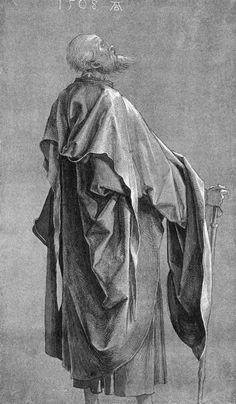 Albrecht Dürer - Standing Apostle /Study of Drapery, 1508 Life Drawing, Figure Drawing, Painting & Drawing, Brush Drawing, Drapery Drawing, Albrecht Dürer, Albrecht Durer Paintings, Renaissance Kunst, High Renaissance