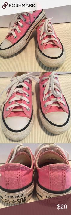 Kids Converse All Stars Sz 11 Pink Gently used Converse All Star pink tennis shoes. Children's size 11. Soles and rubber edges have some wear. Pink canvas and insides do not look to be worn and they are in excellent condition. Thank you for your interest. Happy Shopping! Converse Shoes Sneakers