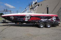 Skull Design on Tige' Ski Boat Wrap By Steel Skinz Graphics www.steelskinz.com