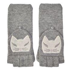 Cat Face Fingerless Gloves - Lambswool Mix