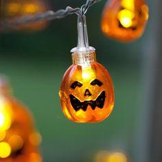 10er LED Lichterkette Kürbis, 3D Kürbis Halloween Lichterkette Batterie