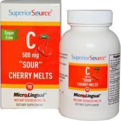 Superior Source, Vitamin C, Sour Cherry Melts, Sugar Free, 500 Mg, 90 Instant Dissolve Melts, Diet Suplements 蛇