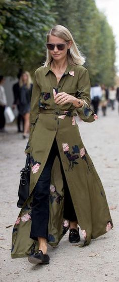 Beautiful trench dress styled over pants or jeans is the perfect go-to fall outfit.