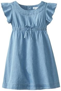 Pumpkin Patch Little Girls' Flutter Sleeve Dress, Light Wash Denim, 3 - Click image twice for more info - See a larger selection of girls denim clothing at http://girlsdressgallery.com/product-category/girls-denim-dress/ - girls.little girls, girls clothing, kids, kids  fashion, toddler,child,children,gift ideas,holidays,christmas