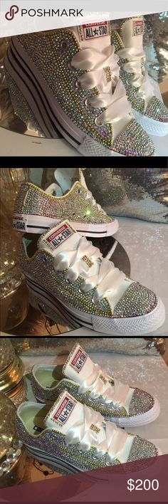 Custom Bling Converse w/gold trim (Made to Order) NWT