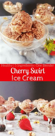 Cherry swirl ice cream is a no-churn 'nice-cream' that is prepped in under 10 minutes and is the perfect cool summer treat. Enjoy this naturally sweetened treat on a hot summer day. #nicecream #healthyicecream #summer #fourthofjuly #summertreats