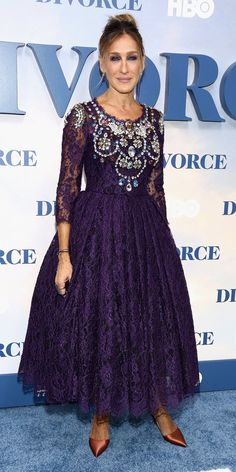 Sarah Jessica Parker had a princess moment at the New York premiere of her new HBO TV series Divorce. She wore a purple lace tea-length dress with a bodice decorated with multicolored gemstones all over.