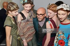Designer Antonio Marras and models are seen backstage ahead of the Antonio Marras show during Milan Fashion Week Spring/Summer 2016 on September 26, 2015 in Milan, Italy.