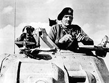 "Field Marshal Bernard Law Montgomery, 1st Viscount Montgomery of Alamein, KG, GCB, DSO, PC (17 November 1887 – 24 March 1976), nicknamed ""Monty"" and the ""Spartan General"" was a British Army officer. He saw action in the First World War, when he was seriously wounded, and during the Second World War he commanded the 8th Army from August 1942 in the Western Desert until the final Allied victory in Tunisia."