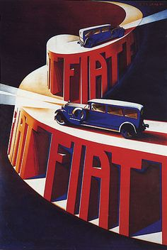 Fiat Automobile Italy Night Drive Car Going Uphill Italian Vintage Poster Repro - Autos und Motorräder Vintage Italian Posters, Vintage Advertising Posters, Car Advertising, Vintage Travel Posters, Vintage Advertisements, Vintage Ads, Pinterest Advertising, Old Poster, Retro Poster