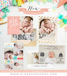 New birth announcements templates   Photoshop templates for photographers by Birdesign