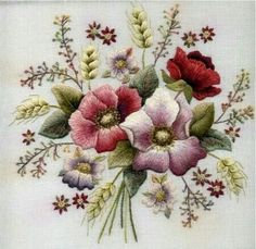 Silk Ribbon Embroidery Flowers Crewel embroidery of Bouquet Of Flowers - Perfectly Worked, note the regularity of the tension in the stitches. Embroidery Designs, Crewel Embroidery Kits, Paper Embroidery, Learn Embroidery, Embroidery Needles, Silk Ribbon Embroidery, Machine Embroidery, Embroidery Tattoo, Embroidery Alphabet
