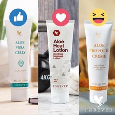 Aloe Vera Gelly, Aloe Heat Lotion or Aloe Propolis Crème. Which one is your favorite? Forever Living Aloe Vera, Forever Aloe, My Forever, Forever Living Company, Aloe Heat Lotion, Forever Freedom, Sante Bio, Forever Business, Chocolate Slim