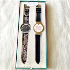 Kate Spade Watch & Strap Set NWT. Sparkling crystals trace the bezel and mark the enamel dial of a glamorous round watch set in an eye-catching glitter strap. An additional interchangeable strap lets you switch to a more classic look to fit your mood. 38mm case, 18mm band width. Buckle closure. Three hand quartz movement. Mineral crystal face. The perfect gift for someone special or yourself! Because no one loves you more than you  kate spade Accessories Watches