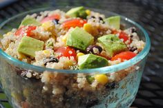 Chunky Southwestern Quinoa Salad - dry quinoa - can black beans - can sweet corn - plum tomatoes - 2 avocados - cilantro - lime - extra virgin olive oil - balsamic vinegar