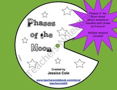 PHASES OF THE MOON WHEEL (multiple versions) from Coles Hot Spot for Great Activities on TeachersNotebook.com (6 pages)