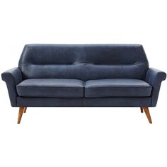 west elm Denmark Leather Loveseat, Navy ($1,800) ❤ liked on Polyvore featuring home, furniture, sofas, west elm sofa, west elm, navy leather sofa, navy leather couch and west elm couch
