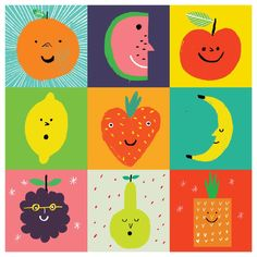 robhodgson: Rob Hodgson, Tooty Fruity from Little Boxes published by Urban Graphic Fruit Painting, Little Boxes, Illustrations And Posters, Graphic Illustration, Food Art, Art For Kids, Doodles, Greeting Cards, Drawings
