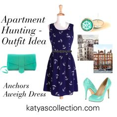 """""""Apartment Hunting - Outfit Idea w/ Anchors Aweigh Dress"""" by mstravesura on Polyvore"""