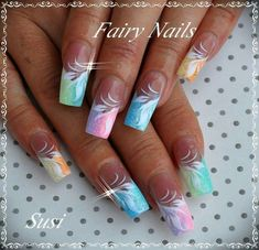 Fairy nails inspiration nails nails, nail art designs et nail designs. Beautiful Nail Designs, Beautiful Nail Art, Fabulous Nails, Gorgeous Nails, Fingernail Designs, Nail Art Designs, Fancy Nails, Trendy Nails, Spring Nails