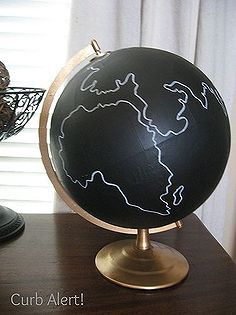 chalkboard paint on globes, chalk paint, chalkboard paint, home decor, painting