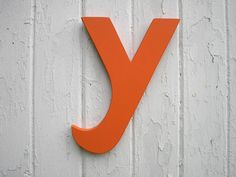 """Shabby chic Wooden Letter """"y"""" 12 inch lowercase orange Rustic decor Initial Bedroom nursery shower gift"""