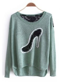 Fancy - Autumn Women New Style Sweet Cute Fashion Back Lace Green Loose Slim Knitting Cardigans One Size@WXM960gr $14.99 only in eFexcity.com.