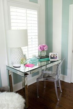 mint stripes with wood floors and mirrored desk and acrylic chair