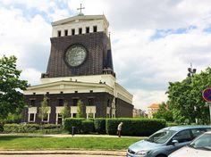 """The architectural dominant of the area - Josip Plecnik´s church """"Nejsvětějšího srdce páně"""", the jewel or 20th century Prague architecture."""