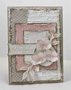 """By Narelle Farrugia, featuring Stampin' Up! colours """"Blushing Bride"""" and """"Sahara Sand"""", a gorgeous shabby chic card ..."""