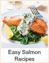 These easy salmon recipes are quick to prepare and very tasty.  The first is pan fried until cooked through and served with a cream tartare sauce - ingredients for 2, but just increase proportionally if you need to.  I'm not sure of the origin of this next dish, but my mum cooked it for me - she'd had it at a friend's house who had written out the recipe for her - salmon with beetroot.
