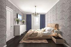 Спальня.  Дизайн интерьера квартиры в стиле минимализм, Московском пр., 88 кв.м.
