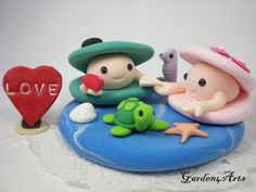 Custom Happy Clam Couple Wedding Cake Topper Hand by Garden4Arts