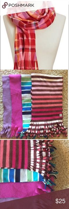 SCARVES BUNDLE (4 items) Scarves Bundle (4 items included). Scarves included are the third picture. First picture is an example. All scarves from OldNavy. Super soft and warm. Fleece fabric. 72 inches long.  ✔️Perfect conditions, no stains, rips or holes. No flaws. Smoke free. ✔️ 🚫No trades🚫 no returns. 🐶 Old Navy Accessories Scarves & Wraps