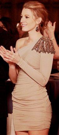 Blake Lively in a beige one-shouldered mini dress with an embellished shoulder #stunning