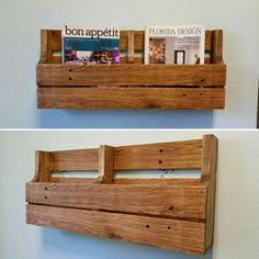 Reclaimed Pallet Wood 2 Pocket Wall/Floor Organizer. Mail holder, file holder, magazine rack, vinyl record storage, office decor, kitchen decor.  Made to order 2 pocket organizer. Works great in the office to keep mail and files organized, or in the kitchen to hold cookbooks, magazines, school folders, mail and much more. Makes great storage for vinyl records. Can sit on the floor or be hung on the wall. Its practical and looks beautiful! Oil-rub finish for a natural wood look. Organizer…